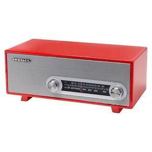 Retro-Style-Crosley-Vintage-RADIO-with-Glossy-Piano-Finish-RED-Color