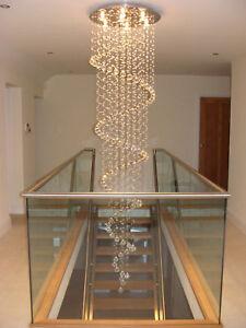 Spiral chandelier lead glass crystal large long big ebay image is loading spiral chandelier lead glass crystal large long big mozeypictures Gallery
