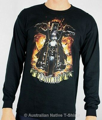 Ned Kelly Motorcycle Rider Long Sleeve T-Shirt - Size Small or XL