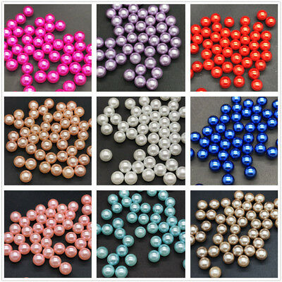 New 50pcs 8mm  No Hole Round Pearl Loose Acrylic Beads Jewelry Making Light blue
