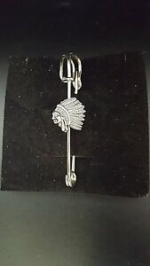 "Open-Minded Indians Head Pt123 Silver Emblem On A Scarf And Kilt Pin Pewter 3"" 7.5 Cm Pins & Brooches Jewelry & Watches"