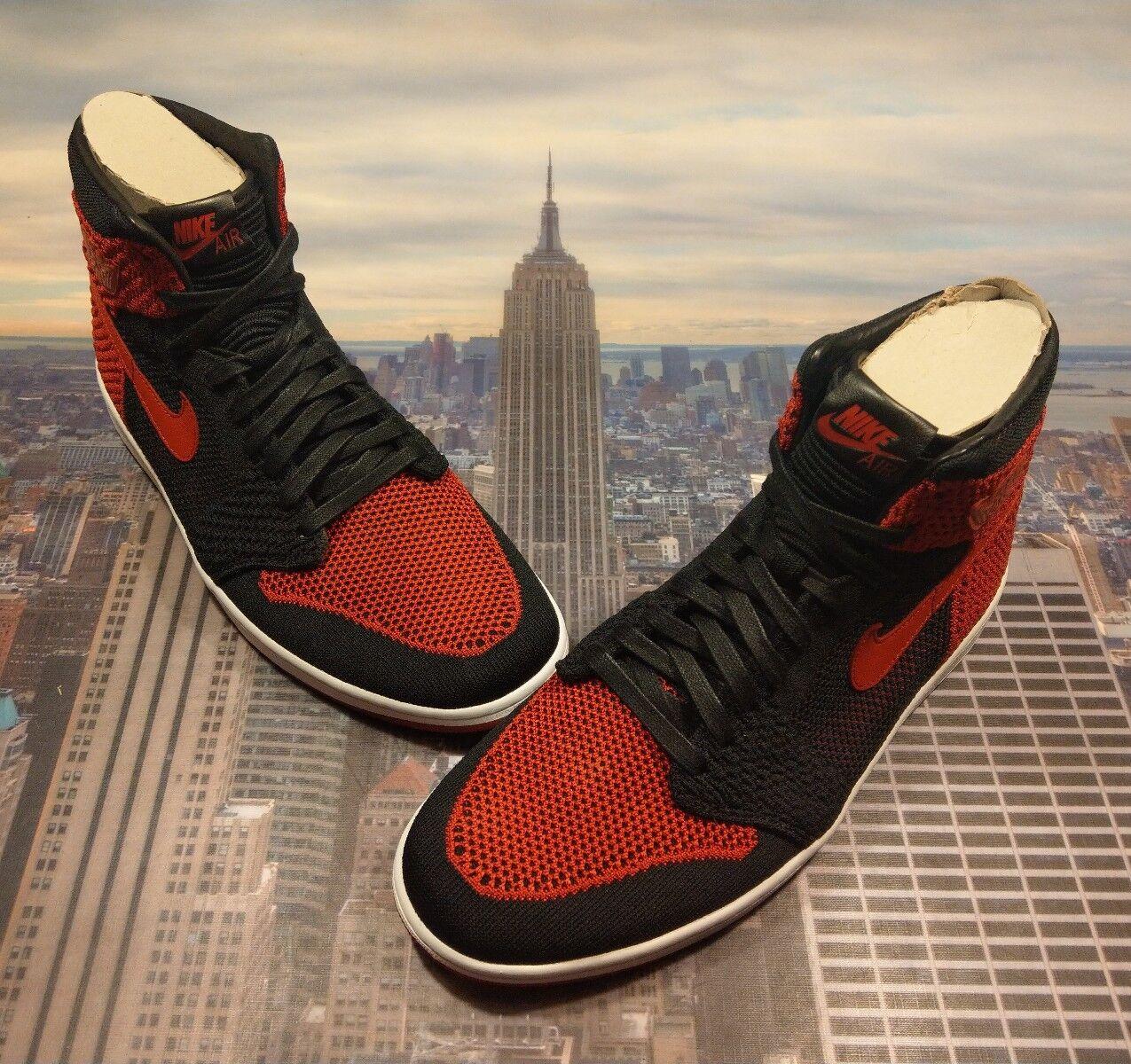 Nike Air Jordan 1 Retro High Flyknit Bred Black/Varsity Red Size 11 919704 001