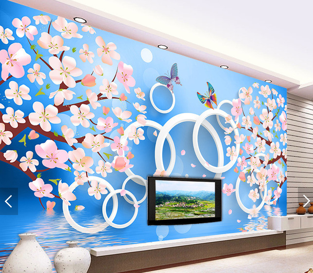 3D Peach Circle 599 Wallpaper Murals Wall Print Wallpaper Mural AJ WALL AU Kyra