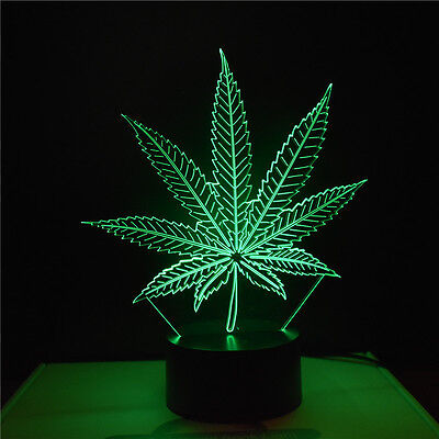 Novelty 3D Abstract Cannabis leaves Night Light 7 Color Change LED Table Lamp