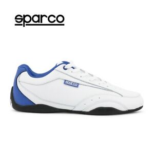 NEW-Sparco-Mens-White-Blue-Leather-Sneakers-Sport-Casual-Driving-Racing-Shoes