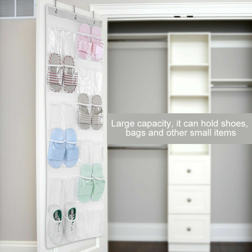 Toys Storage Laundry Items 24 Pocket Hanging Wall Organizer,Over The Door Hanging Shoe Organizer Bag with Customized Metal Hooks Accessories for Bathroom