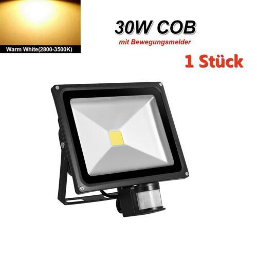 1X 30W LED Fluter Mit Bewegungsmelder Außen Strahler Scheinwerfer Warmes Weiß
