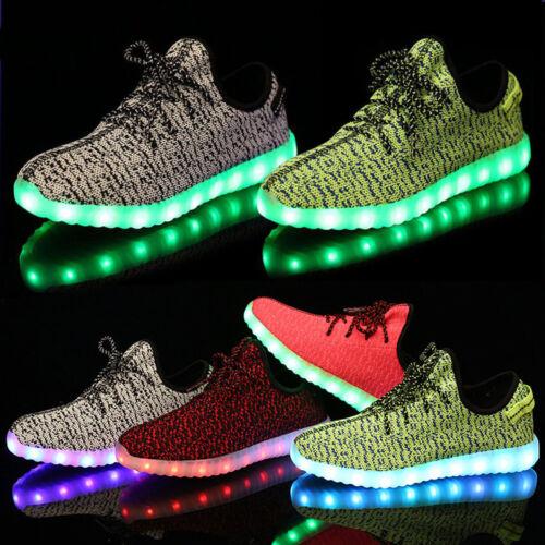 Xmas Gift Women Men LED Light Up Shoes Boy Girl Lace Up Casual Luminous Sneakers