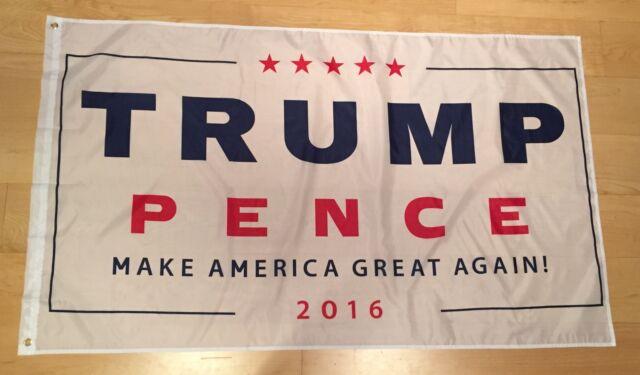 White Flag 3/'x5/' Grommets Nylon Poly 3x5 Donald Trump Make America Great Again