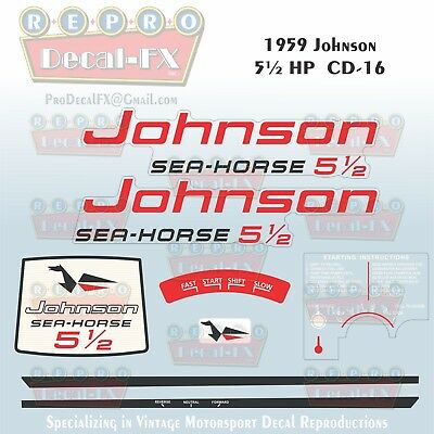 1978 Johnson 9.9 HP Outboard Reproduction 18 Piece Marine Vinyl Decal Sea-Horse