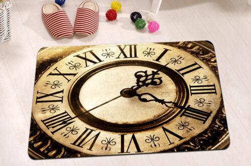 """Rétro Horloge Salle De Bain Tapis tissu imperméable rideau de douche Set de Crochets 72/""""//79/"""" 2218"""