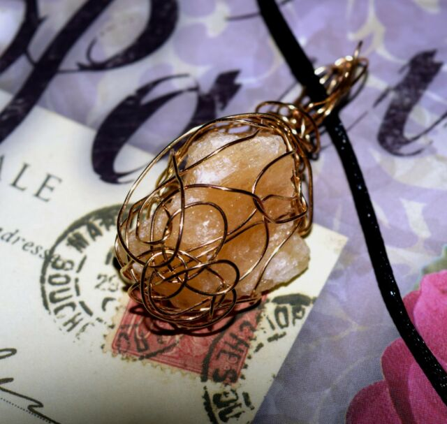 STUNNING HAND CRAFTED GOLD-WIRE-WRAPPED YELLOW CALCITE PENDANT  2 Inches