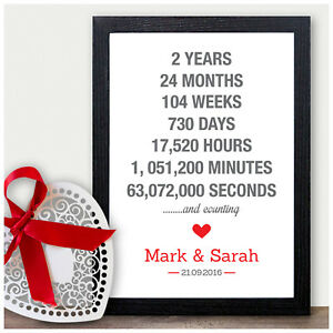 Details About Personalised 2nd Wedding Anniversary Gifts For Him Her Cotton