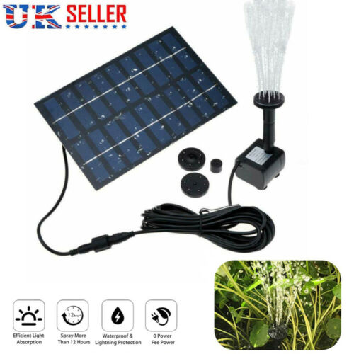 Solar Powered Water Feature Pump Garden Pool Tank Pond Fountain Watering Kit UK