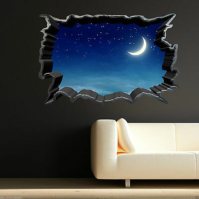 Full Colour MOON NIGHT SKY STARS wall art sticker decal transfer Graphic WSD369