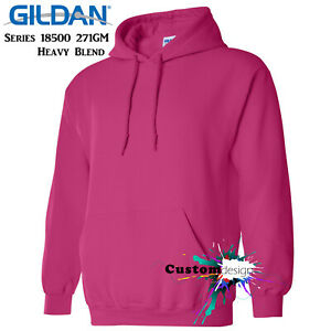 Gildan-Heliconia-Pink-Hoodie-Heavy-Blend-Basic-Hooded-Sweat-Mens-Pullover