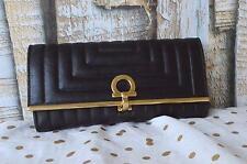 100% Authentic SALVATORE FERRAGAMO Black Leather Wave Wallet Gold Gancini $650
