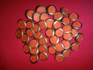 Lot Of 40 Gold Tone Red Center Metal Buttons