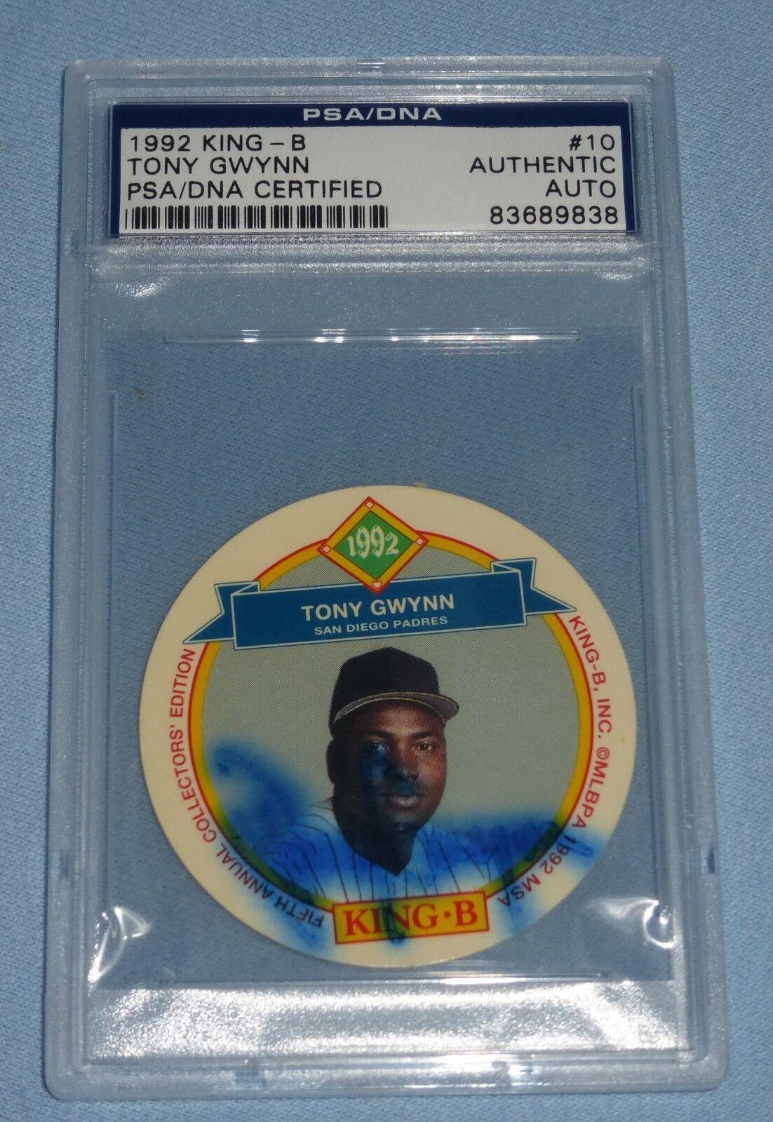 Tony Gwynn Firmado 1992 King-B Béisbol Disco Tarjetas 10 PSA DNA COA Padres