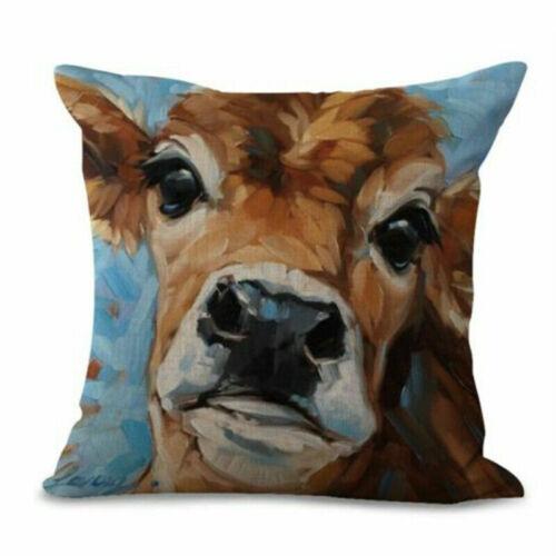 Painting Cow Linen Oil Pillow Case Sofa Car Waist Cushion Cover Home Decor
