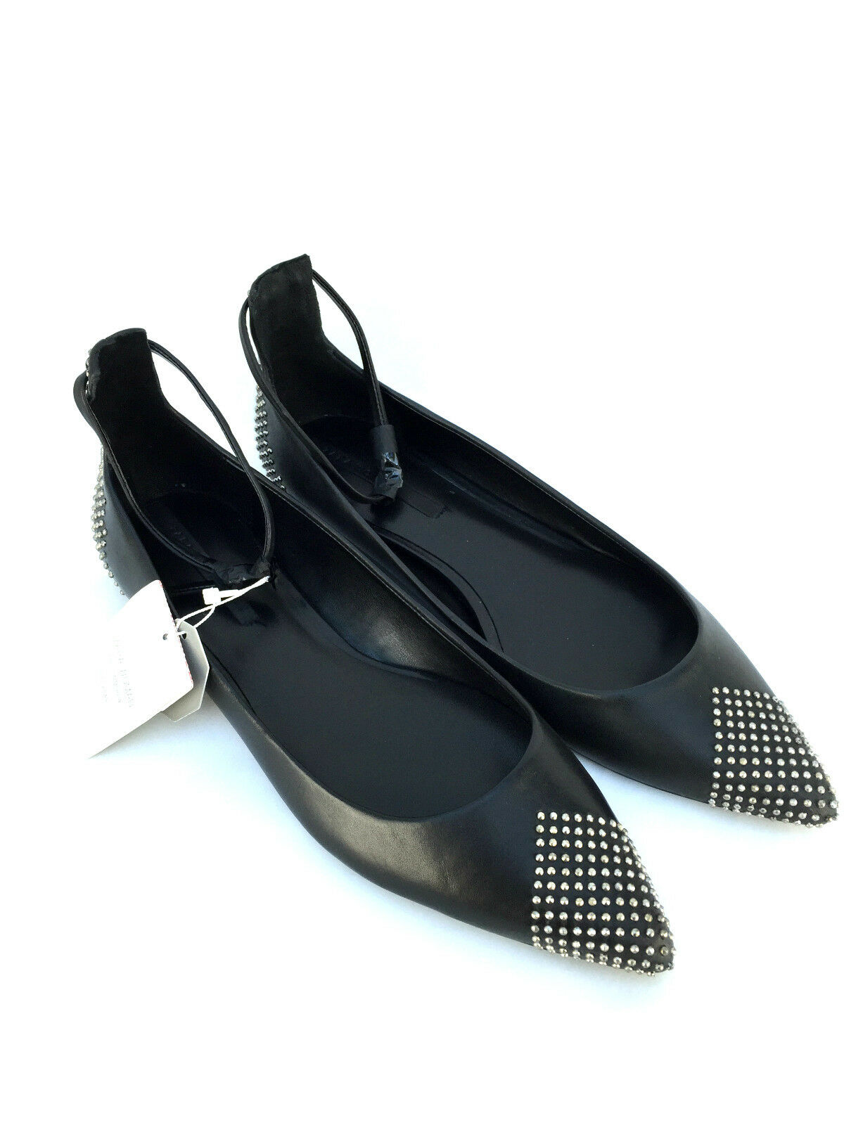 ZARA BLACK LEATHER STUDDED POINTED BALLERINAS FLATS SHOES SIZE RRP