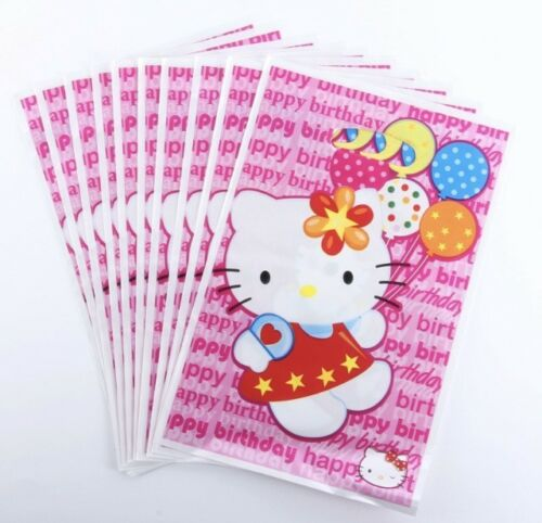 NEW Pack of 10 Girls Hello Kitty Themed Party Loot Bag Lolly Bags #2