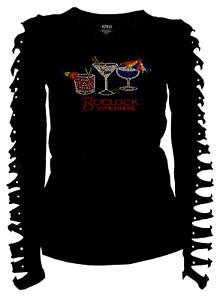 5 o/'clock Somewhere /& Drinks Cocktail Rhinestone T-Shirt Ripped Cut Out Ln S~4XL