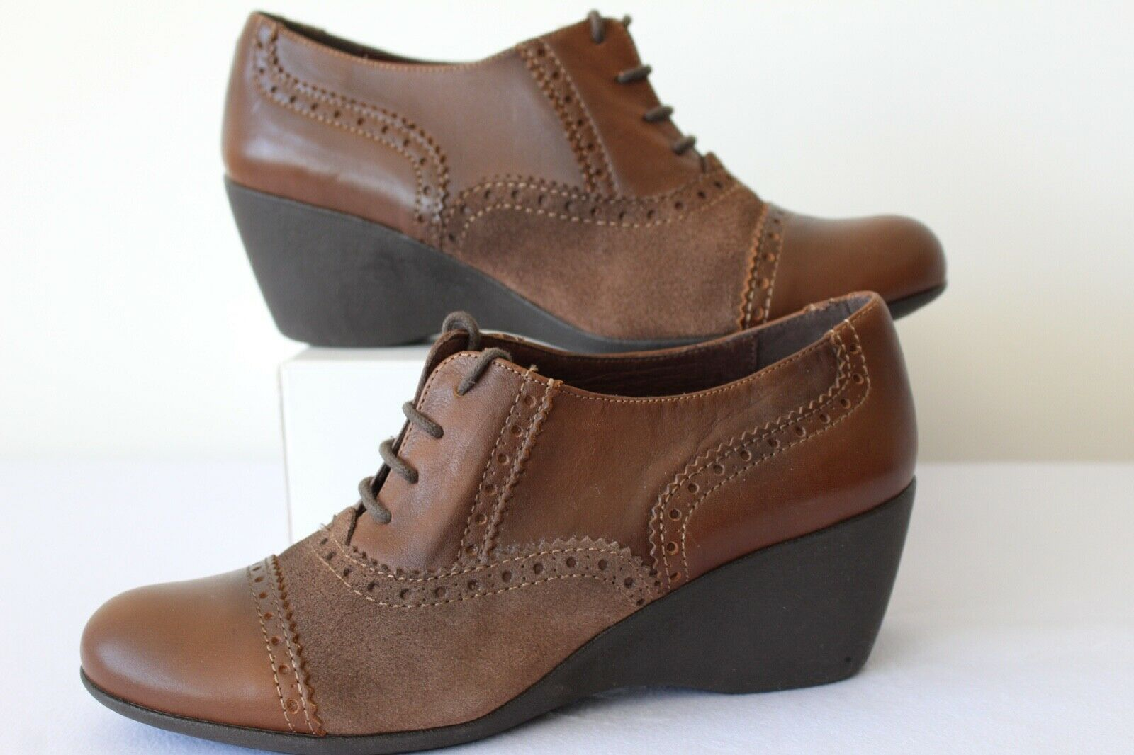 BATA LADIES FAB BROWN LEATHER CASUAL LACE UP SHOES WEDGE HEEL SIZE 39  EXCELLENT
