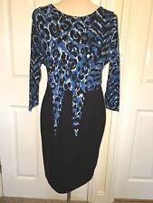 BNWT BIBA Biba V Neck Back, Knot Front Jersey Dress. Black/Blue . Size UK 12