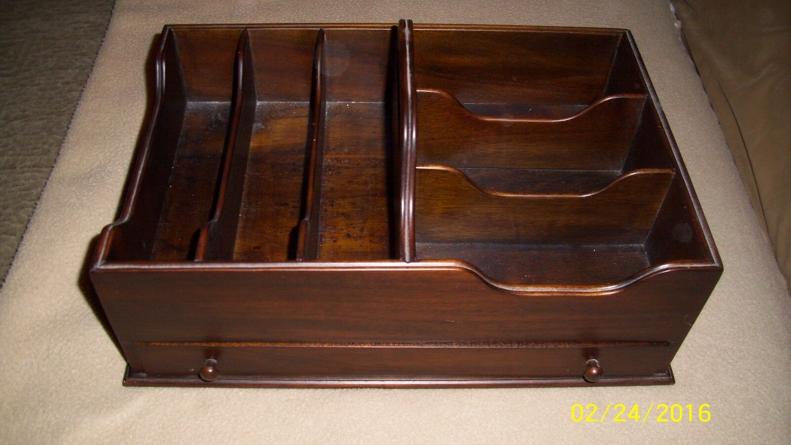 Solid Mahogany Desktop Organizer with 6 Compartments, Drawer and Handle