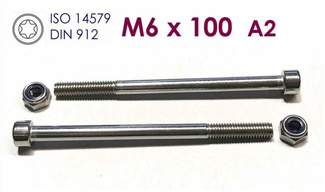 10 Stück Zylinderschraube M6x90 Edelstahl A2 Innen Torx
