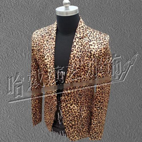 Alluring fashion Mens Leopard Suit Blazer Bar Coat Slim Fit Jacket Formal  b485