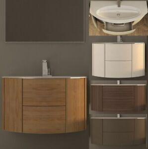 Dettagli su Mobile bagno da 90 120cm arredo moderno sospeso lavabo  cristallo chiusura soft|9