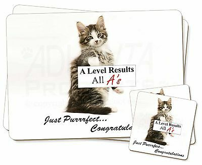 A Level 'congratulations' Cat Twin 2x Placemats+2x Coasters Set In , Ac-188al1pc Vincere Elogi Calorosi Dai Clienti