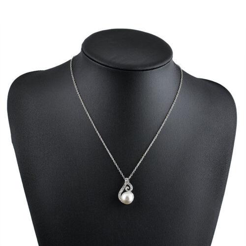 Halskette Collier Strass Perlenkette Schmuckset Ohrringe Perlen Brautschmuck