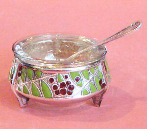 RUSSIAN CLOISONNE SALT, OPEN SALT, DIP, DISH - VERY NICE - W/ SPOON - C. 1973