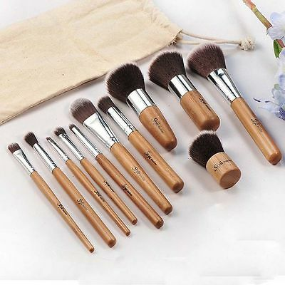 11 pcs Wood Handle Makeup Cosmetic Eyeshadow Foundation Concealer Brush Set FM