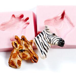 Zebra and Giraffe Mold Set Sculpey Fimo Resin Flexible Silicone Molds (225)