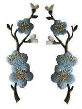 #3959B Lot 2Pcs Bule Quince,Sakura Flower Embroidery Iron On Applique Patch