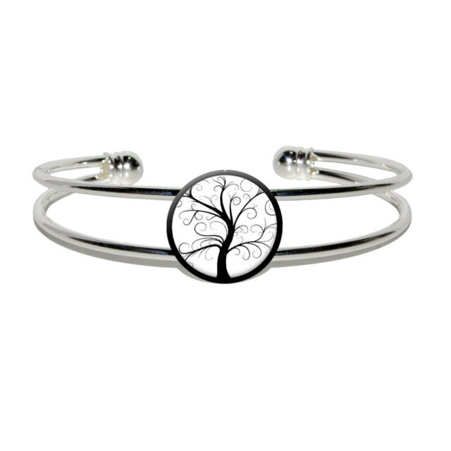 Tree of Life - Novelty Silver Plated Metal Cuff Bangle Bracelet