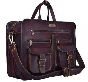2078d54ac2c8 Image is loading Men-Genuine-Vintage-Leather-Satchel-Messenger-Man-HandBag-