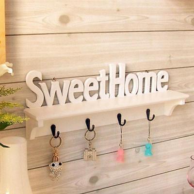 "Unique ""Sweet Home"" Shelves Wall Rack Wood Home Holder Storage Hanger US DB"