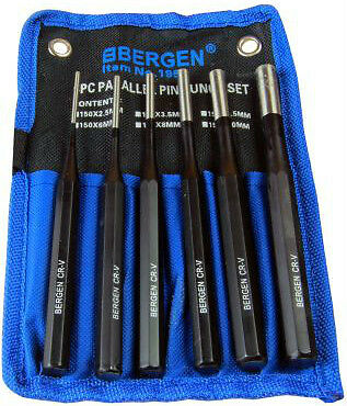 BERGEN PIN Punch set 6pc Parallel Pin Punches Metric Punch Tool Set 2.5mm - 10mm