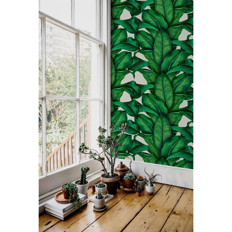 Vibrant Botanical Renters Tropical Grün Leaves Self Adhesive Wall Mural