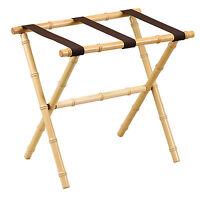 Luggage Racks - Canton Bamboo Inspired Wooden Luggage Rack - Brown Nylon Straps