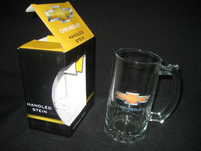 CHEVROLET HANDLED STEIN GLASS LOGO in original Giftbox - NEW!