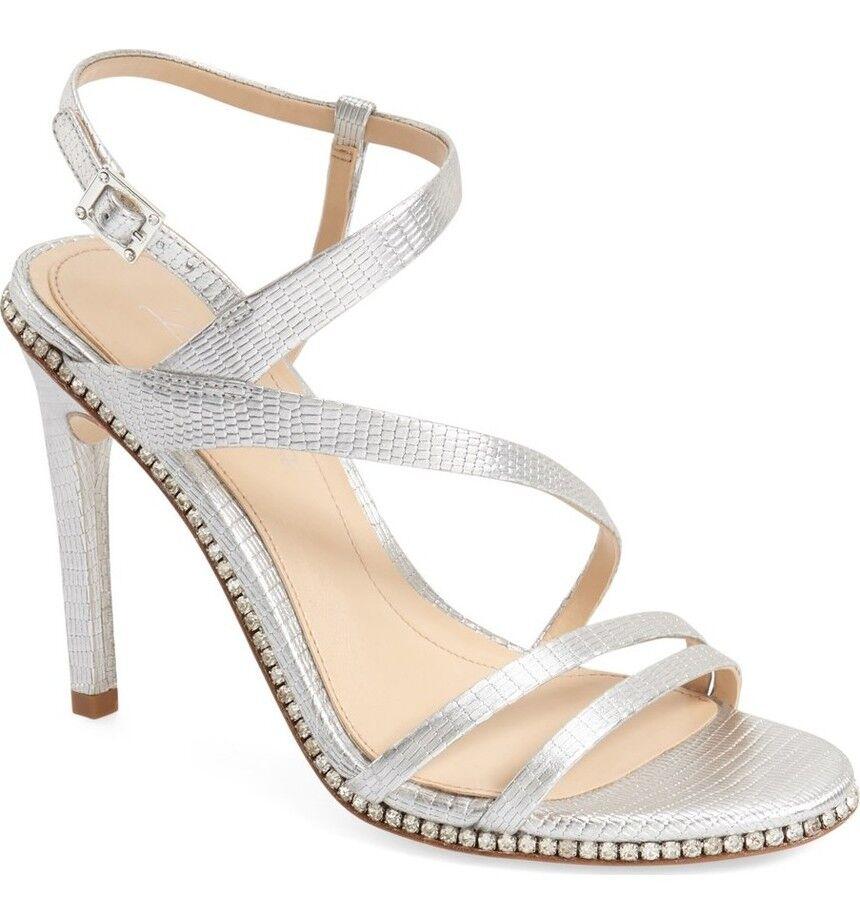 Imagine Vince Camuto Gian Women's Strappy Sandal,Heels, Platinum Metallic Metallic Metallic Lizard 45321f