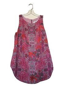 CAbi  S #127 NWOT Jubilee pink paisley sleeveless tunic zip back current cute