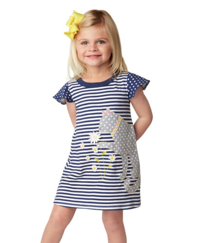 Girls MUD PIE cotton knit boutique dress 3T 4T 5 NWT kitty cat navy blue daisies