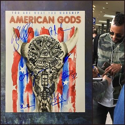 Signed Tv 11x14 Photo Proof Ad1 Coa American Gods Clever Gfa Ricky Whittle Cast X7